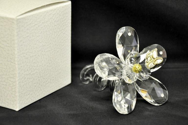 Bomboniera anniversario nozze d 39 oro argento fiore grande for Regali per un 25esimo di matrimonio