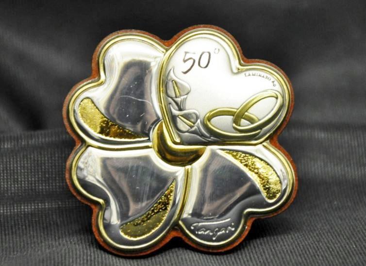 Preferenza anniversario nozze d'oro/argento quadrifoglio campana, icona legno  PR34