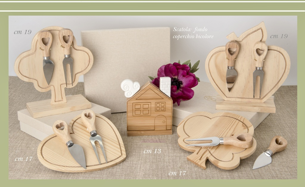 Bomboniere Matrimonio In Legno : Bomboniera matrimonio sweet legno set formaggio set coltelli