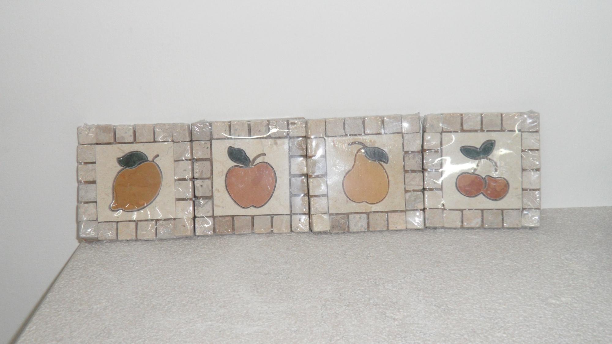 INSERTI FRUTTA decorazioni in marmo per cucina in muratura
